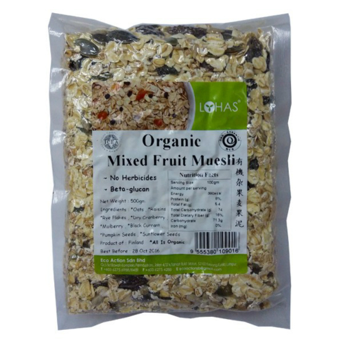 LOHAS ORGANIC MIXED FRUIT MUESLI 500GM